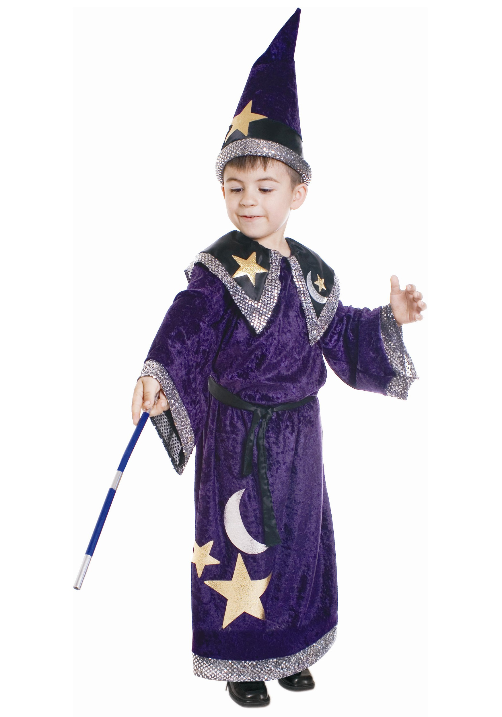 Kids Magic Merlin Wizard Costume with robe belt hat and wand included