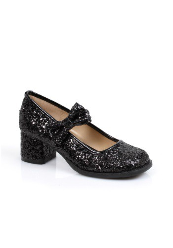 Girls Black Glitter Heels