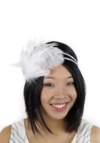 White Flapper Headband with Rhinestones By: Zucker Feather for the 2015 Costume season.
