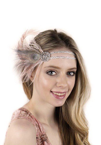 Beige Flapper Headband with Rhinestones By: Zucker Feather for the 2015 Costume season.