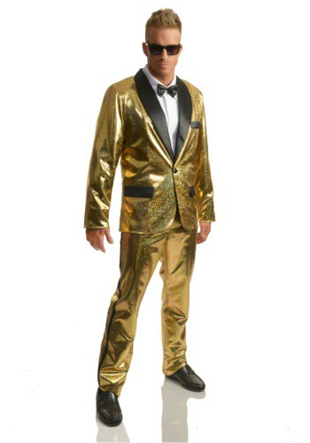 Mens Gold Disco Ball Tuxedo Costume