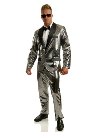 Click Here to buy Mens Silver Disco Ball Tuxedo Costume from HalloweenCostumes, CDN Funds