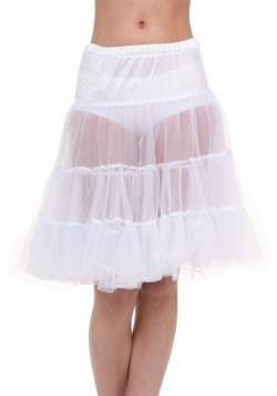 Adult White Knee Length Crinoline