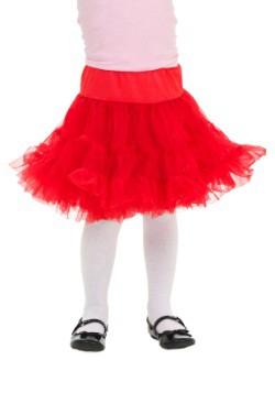 Toddler Red White Knee Length Crinoline