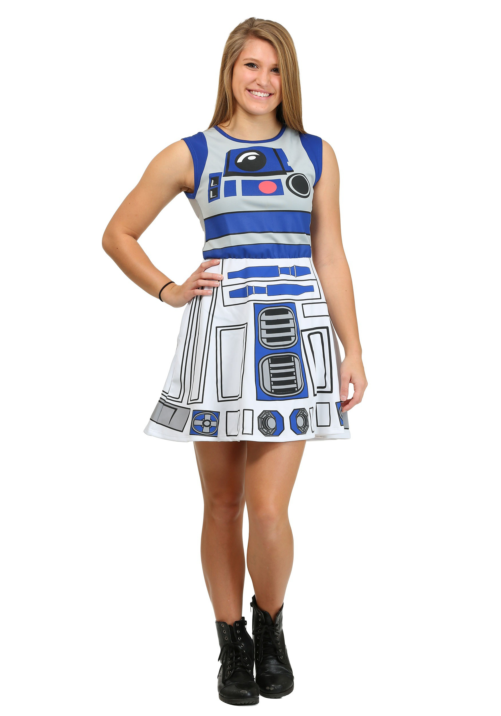 R2d2 costumes for kids adults halloweencostumes r2d2 mesh back skater dress solutioingenieria Image collections