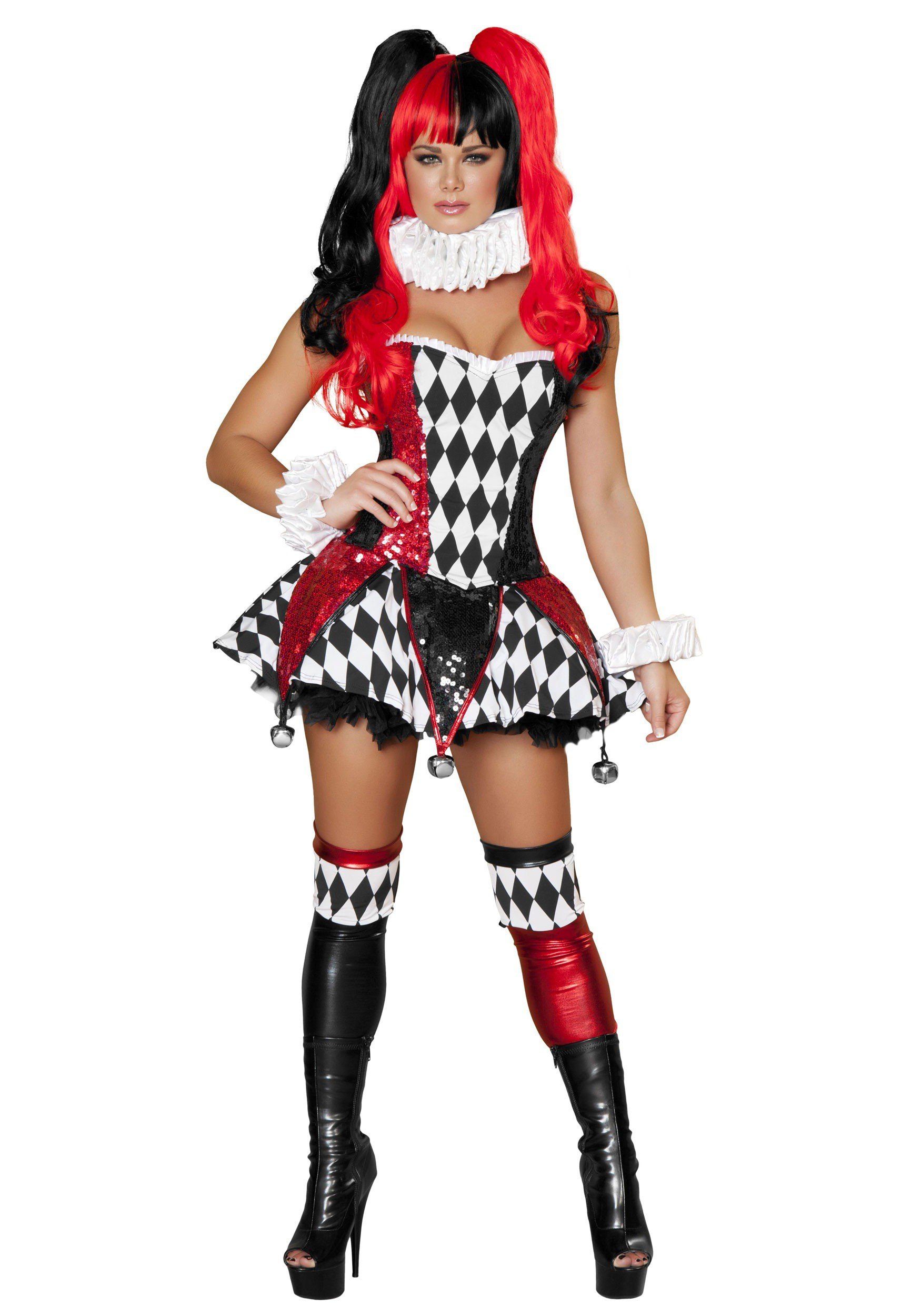 womens 3pc court jester cutie costume
