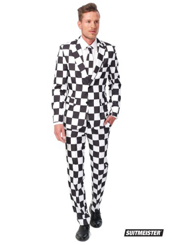 Men's Opposuits Basic Checked Black and White Suit
