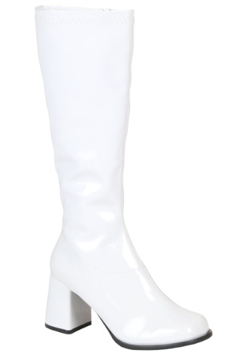 Womens White Gogo Boots By: Ellie for the 2015 Costume season.