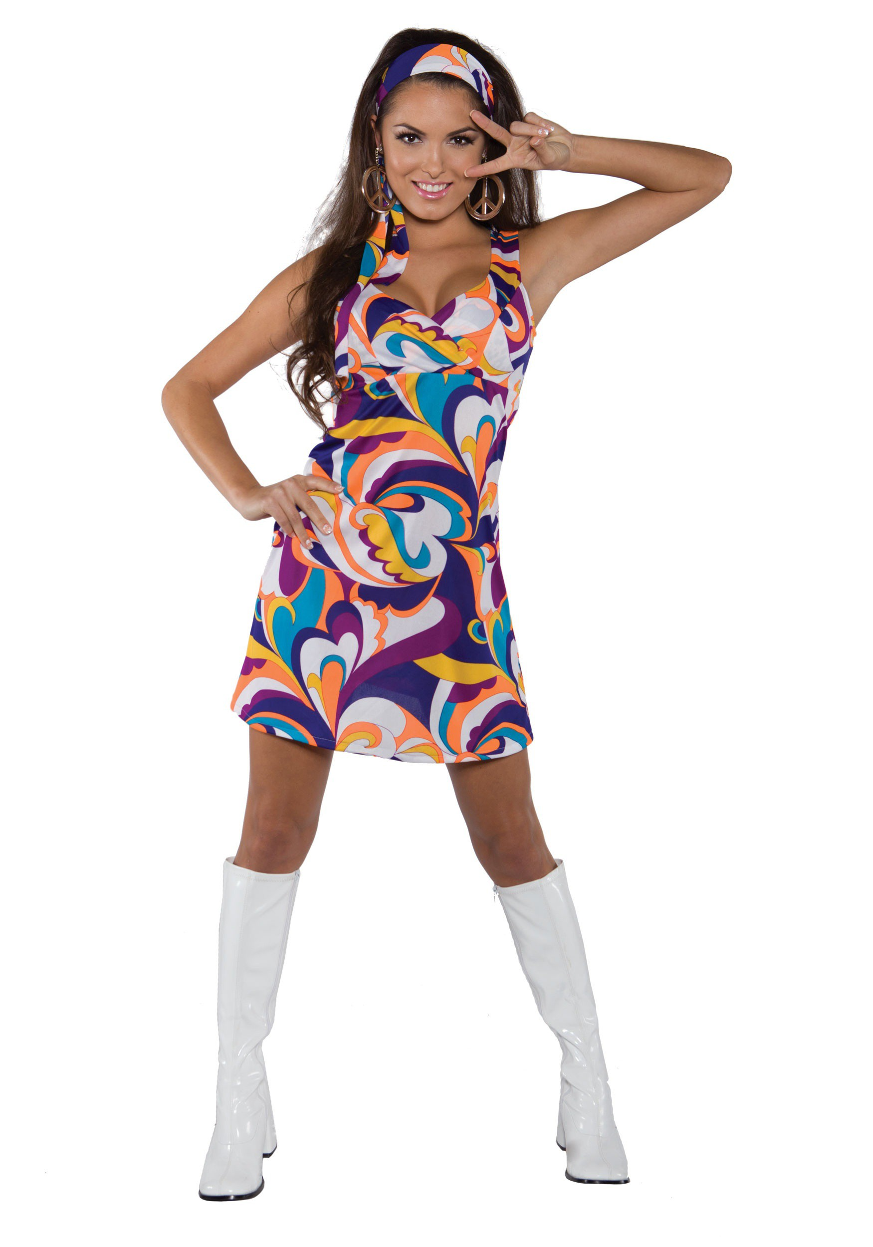 sc 1 st  Halloween Costumes & Womenu0027s Peace Mini Dress Costume