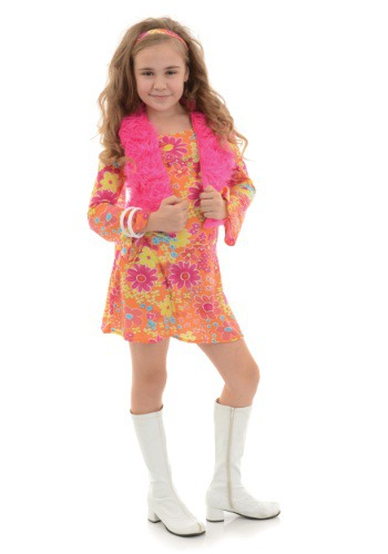 Click Here to buy Girls Flower Power 70s Costume from HalloweenCostumes, USA Funds & Shipping