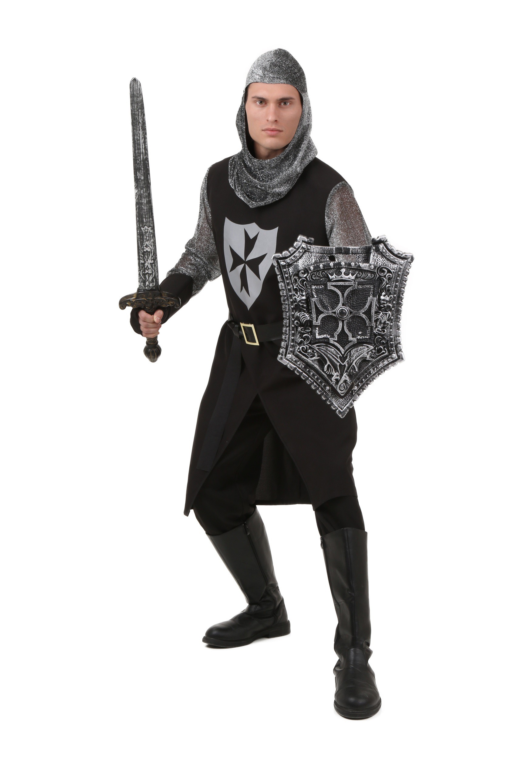 Adult Black Knight Costume  sc 1 st  Halloween Costumes : knights templar costume authentic  - Germanpascual.Com