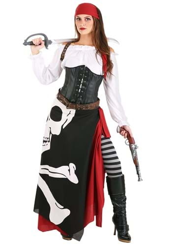 Plus Size Skeleton Flag Rogue Pirate Costume for Women