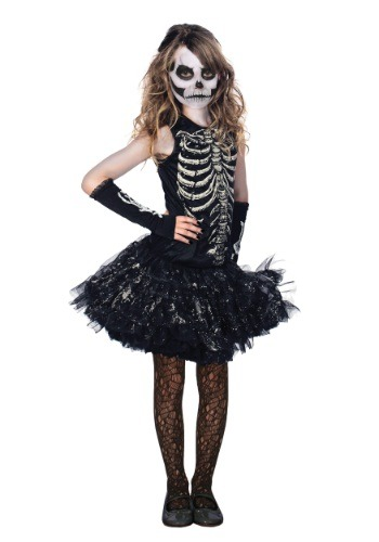 Image of Girls Cutie Bones Skeleton Costume