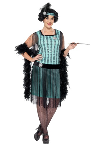 Womens Plus Size 1920s Mint Coco Flapper Costume