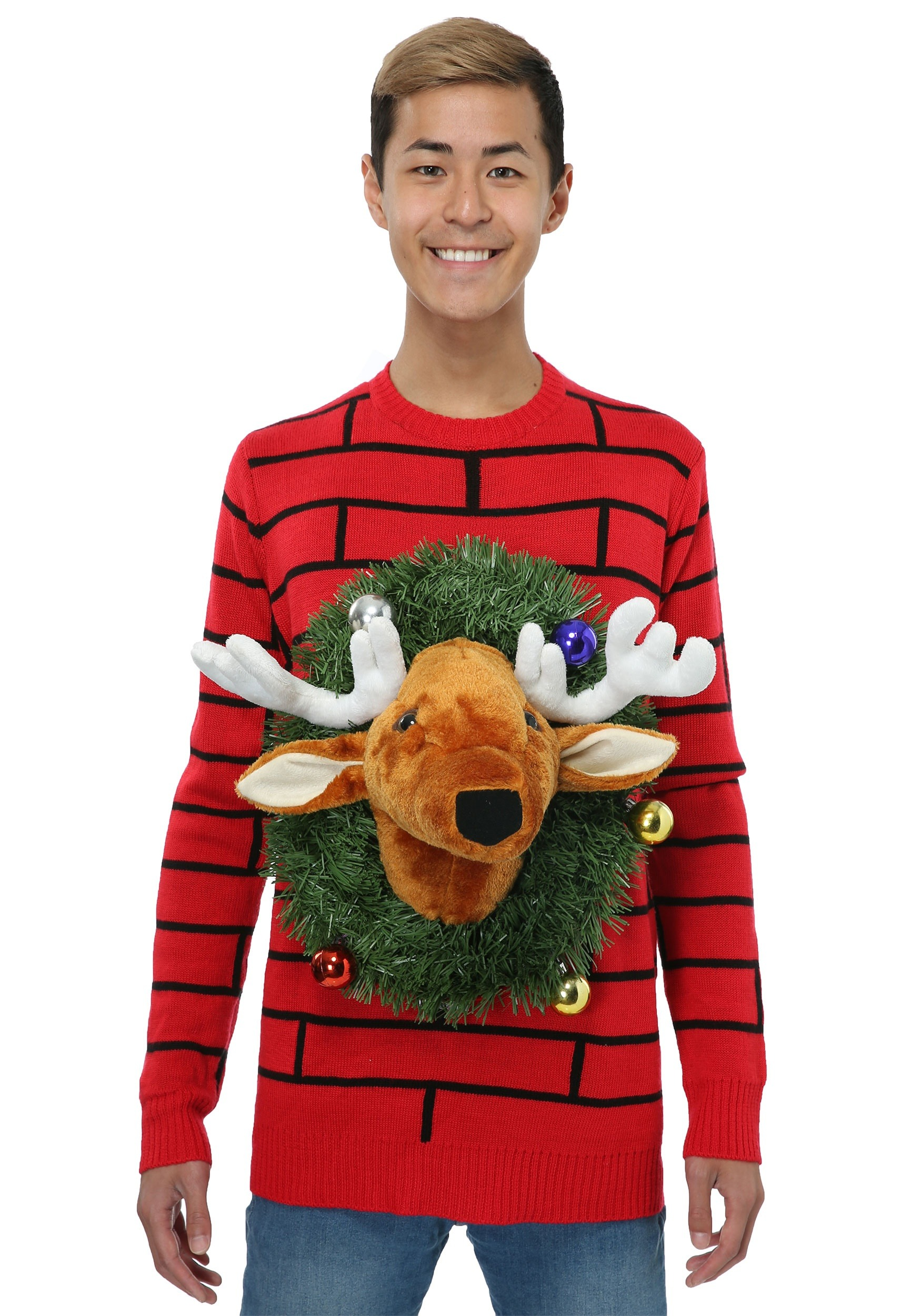 another ugly sweater design in red color its reindeer head design is enhanced with the small colorful baubles and garland - Cheap Mens Ugly Christmas Sweater