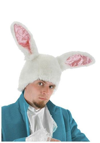 White Rabbit Ears Hat for Adults