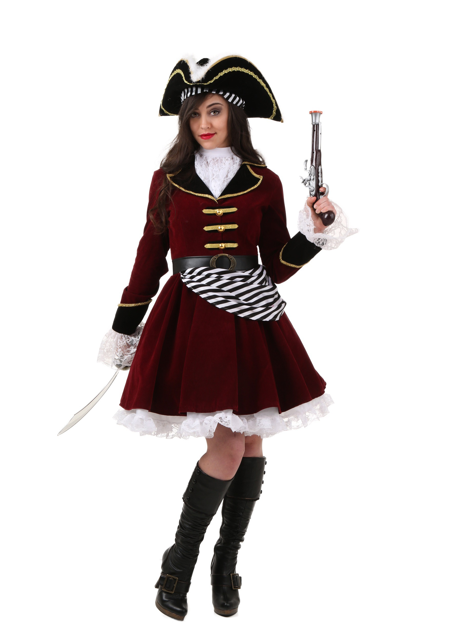plus size womens captain hook costume with hat - Pirate Halloween Costumes Women