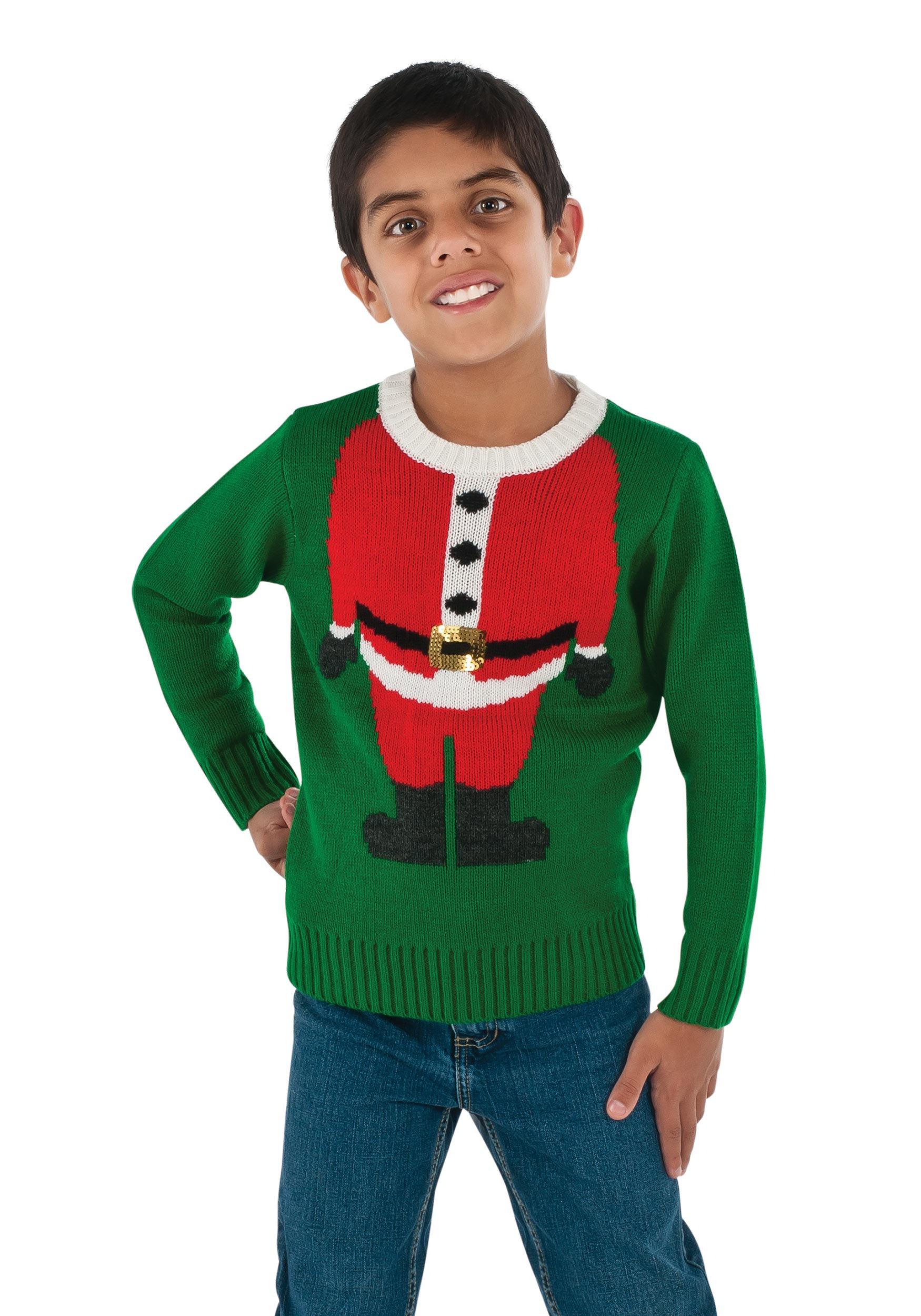 Ugly Christmas Sweater Kids.Child Santa Head Ugly Christmas Sweater