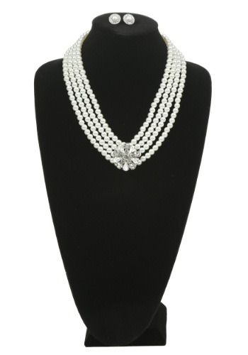 [Pearl and Brooch Necklace and Earring Set] (Necklaces And Earrings)