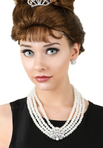 Image of Pearl and Brooch Necklace and Earring Set
