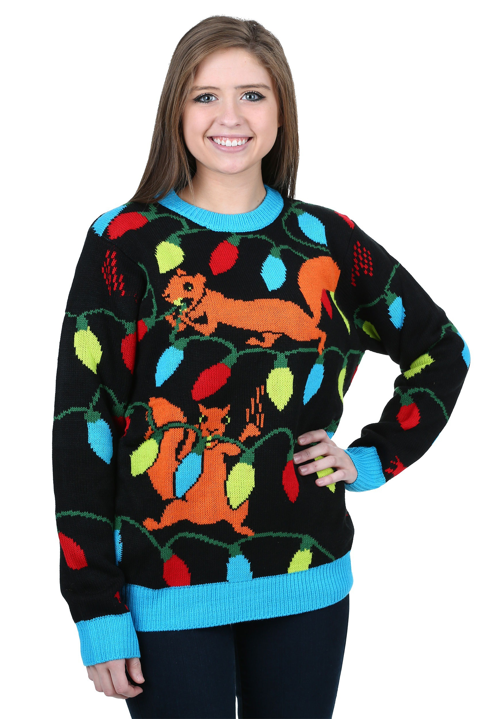 Squirrely Christmas Lights Ugly Sweater