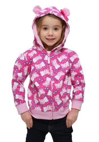 Click Here to buy Peppa Pig Kids Hooded Sweatshirt with 3D Ears from HalloweenCostumes, USA Funds & Shipping