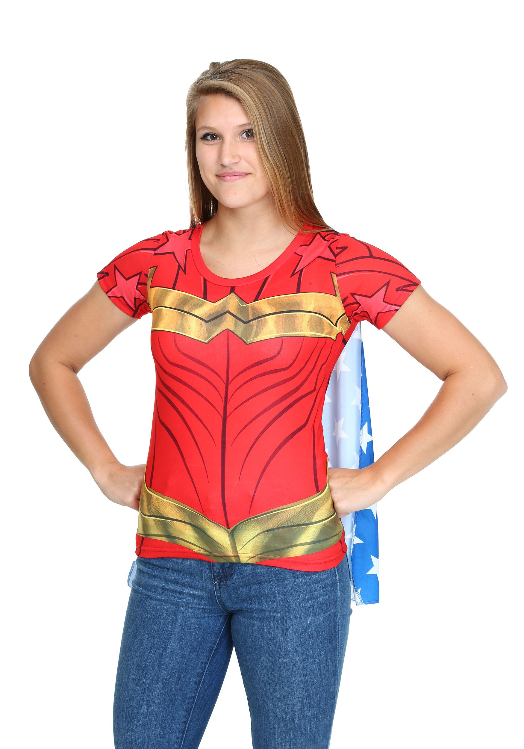 Womens Wonder Woman Sublimated Caped T-Shirt Costume-4710