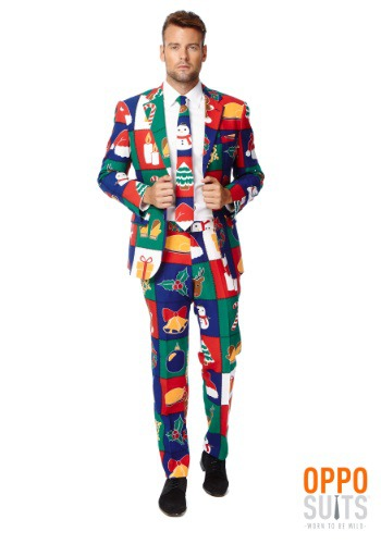 INOpets.com Anything for Pets Parents & Their Pets Men's OppoSuits Quilty Pleasure Holiday Suit Costume