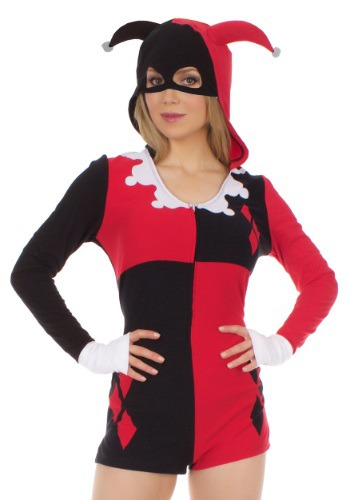 Click Here to buy Womens Harley Quinn Romper Costume from HalloweenCostumes, CDN Funds