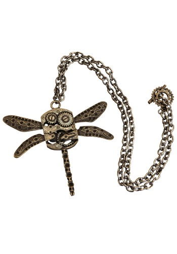 Steampunk Victorian Antique 2.5 Long Dragonfly on the Jewelry Necklace With a Gear Clasp on the Metal Chain