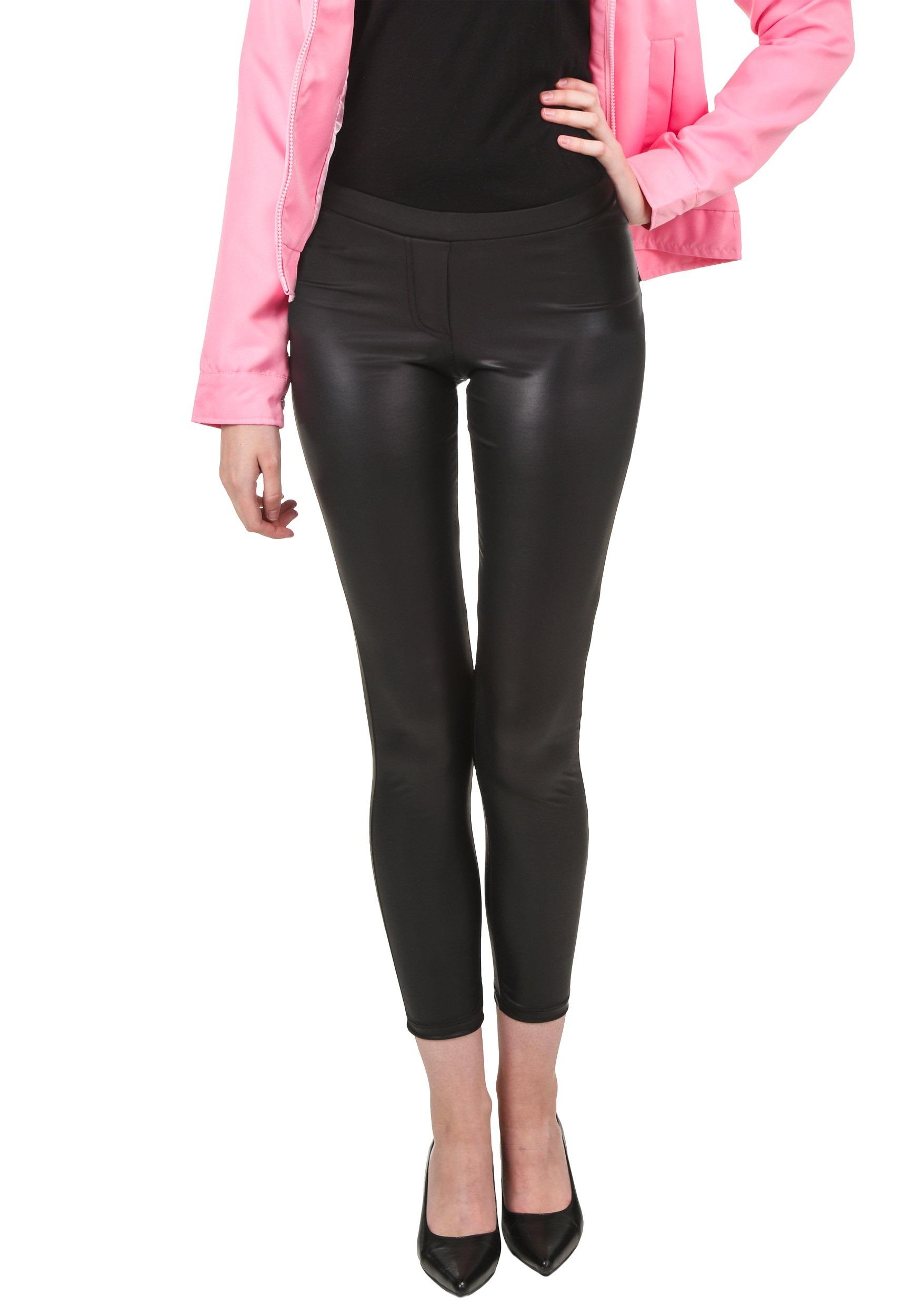 plus size black shiny leggings w/ faux front fly