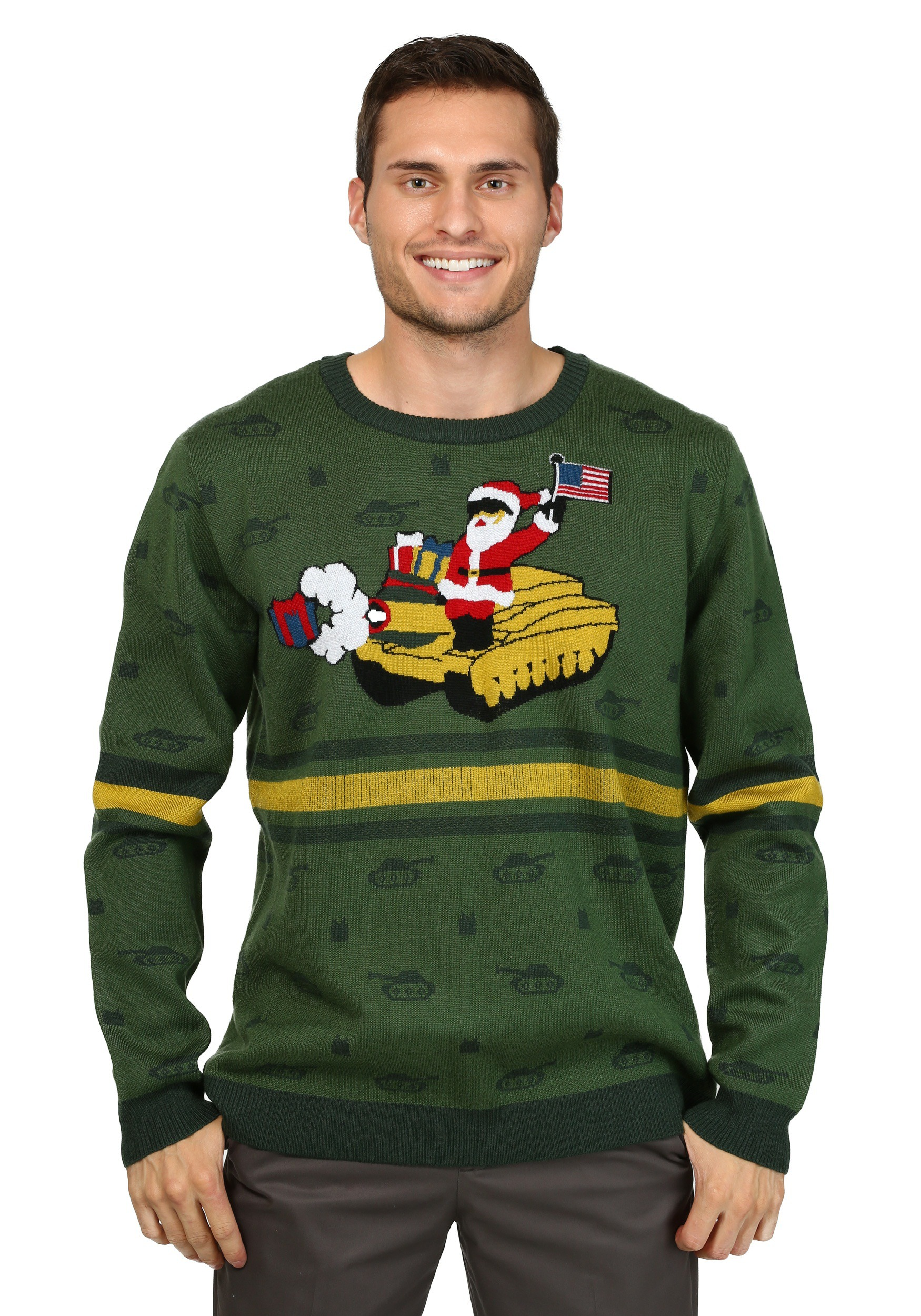 Mens Santa On Tank Ugly Christmas Sweater