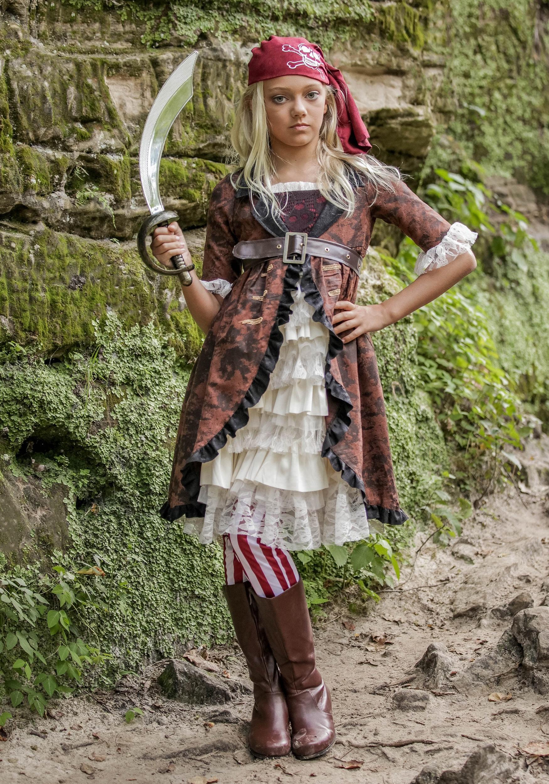 Girl's Brown Coat Pirate Costume - photo#39