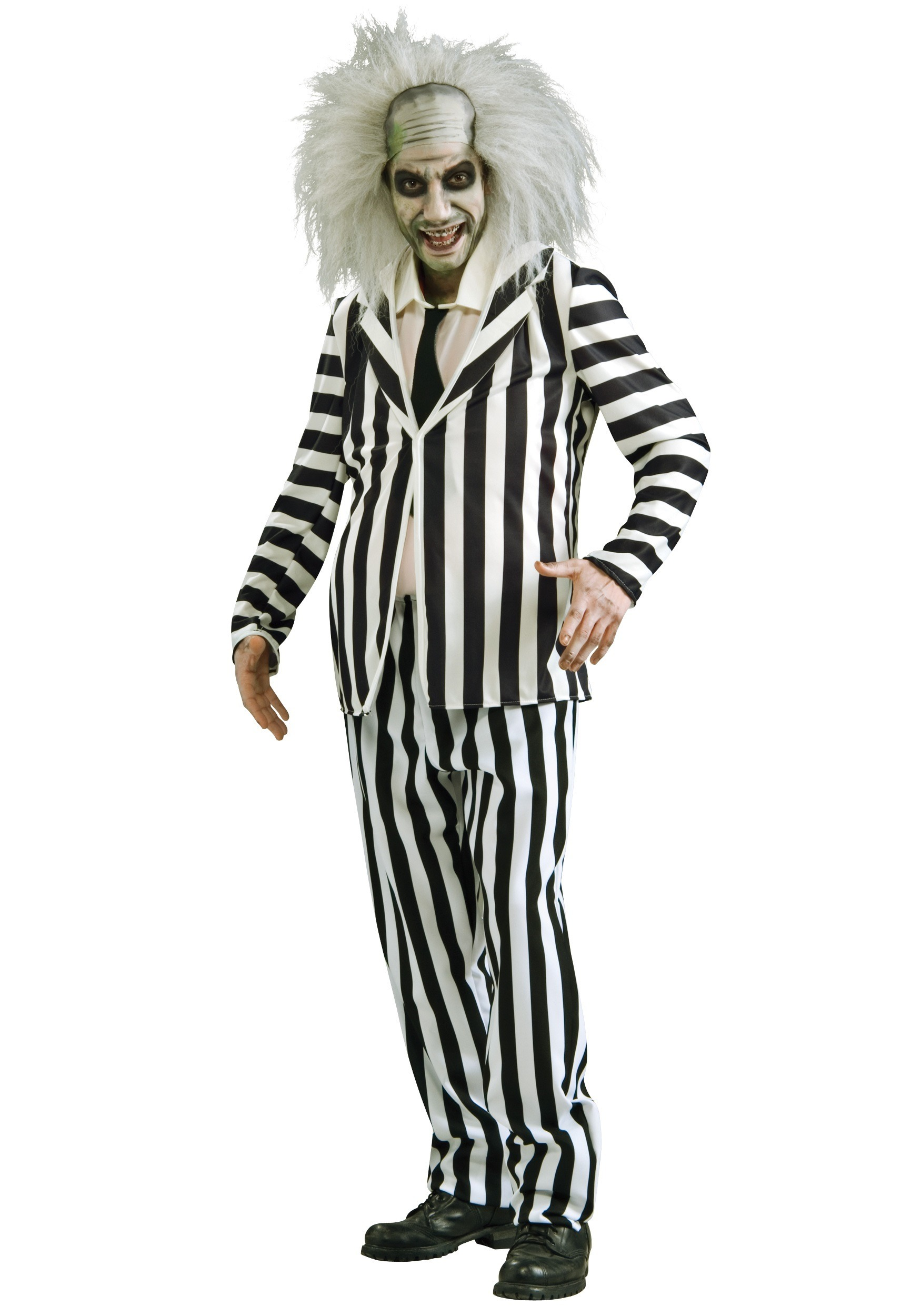 Plus Size Beetlejuice Costume 2x Black And White Stripped Suit