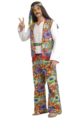 Click Here to buy Plus Size Mens Hippie Costume from HalloweenCostumes, USA Funds & Shipping