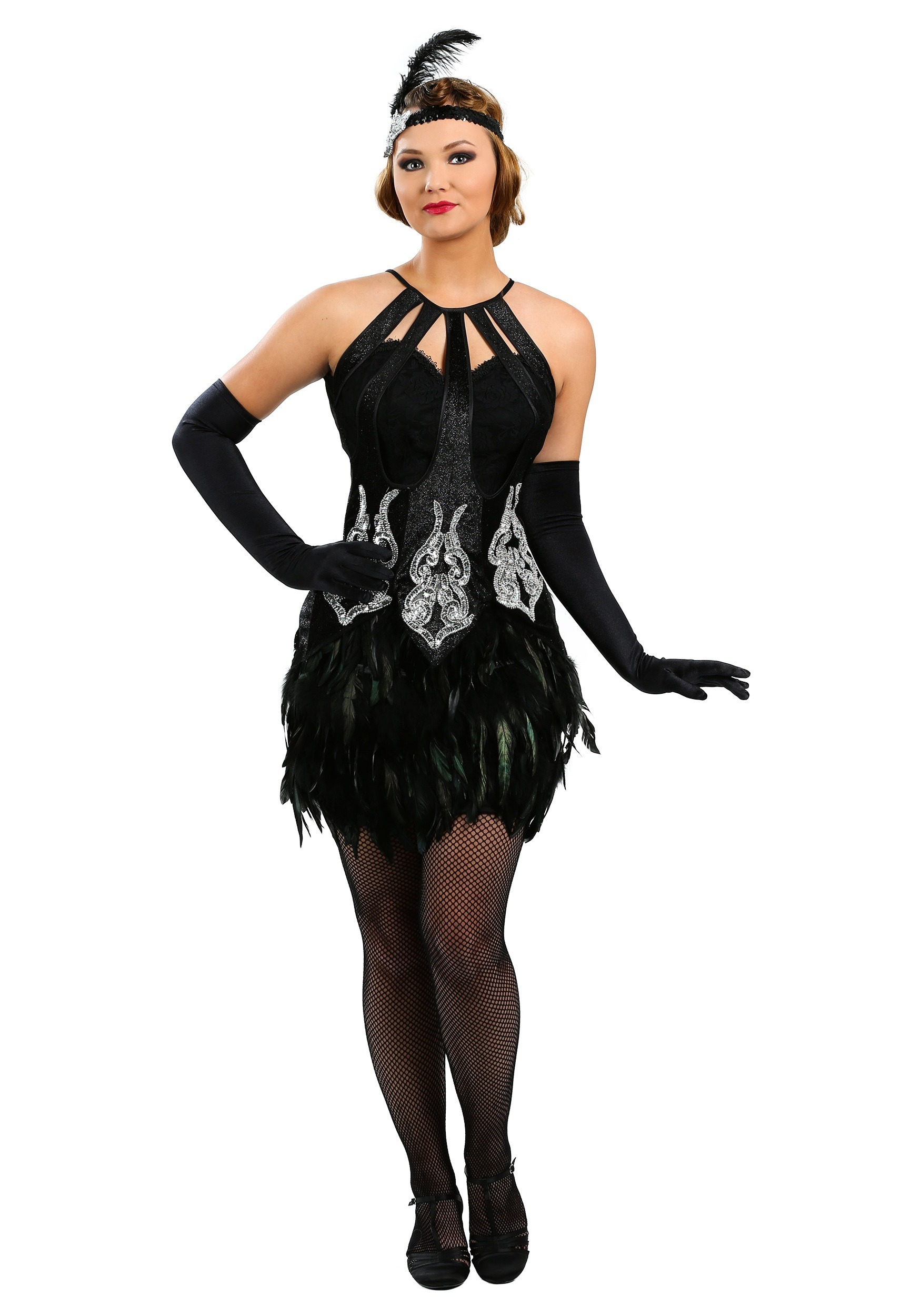 90bdfc8aa21c Womens Feathered Showgirl Costume