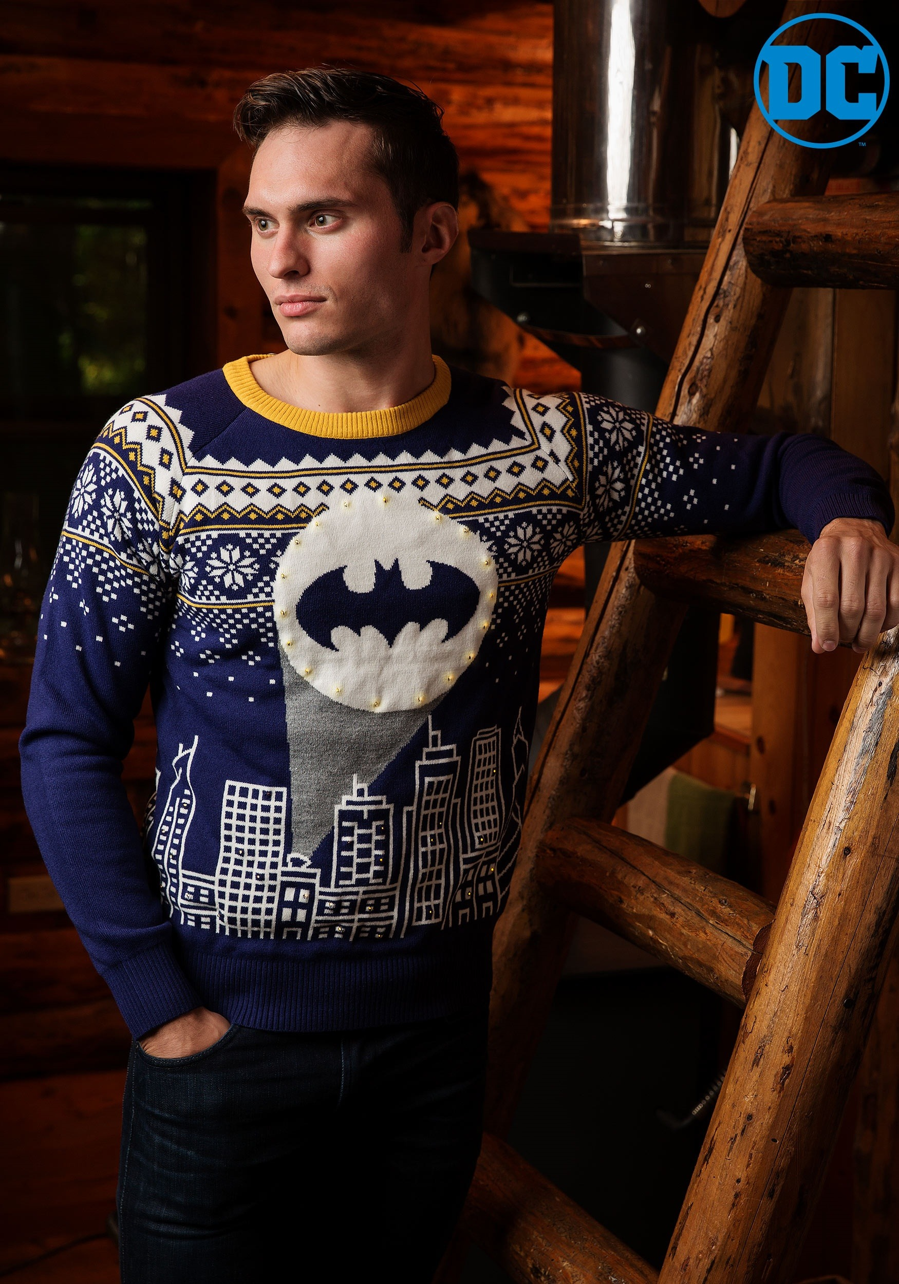 Mens 3x Ugly Christmas Sweater.Batman Bat Signal Ugly Christmas Sweater