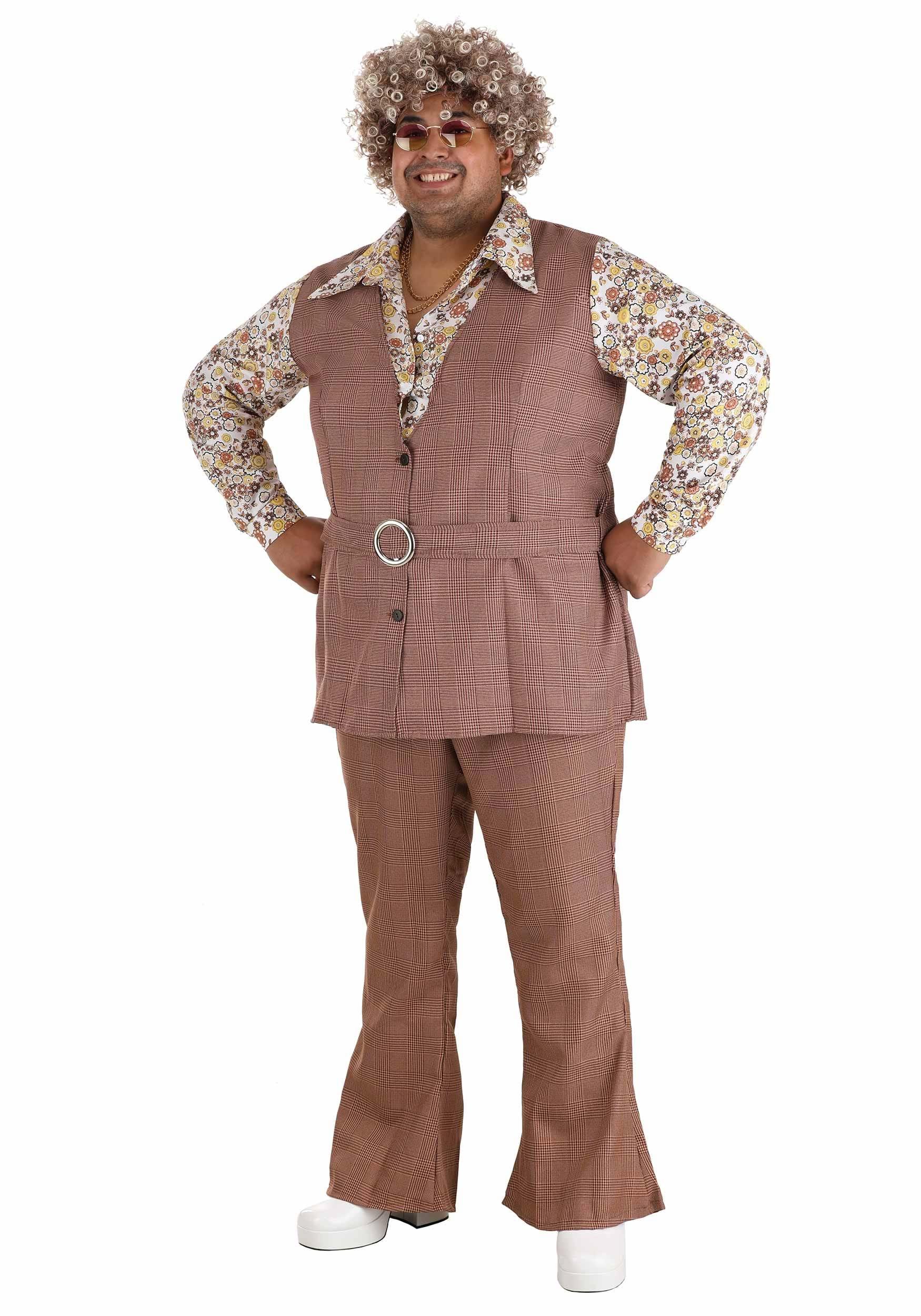 men s plus size 70 s vest costume