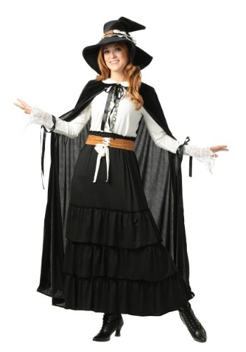 Click Here to buy Womens Salem Witch Plus Size Costume from HalloweenCostumes, CDN Funds