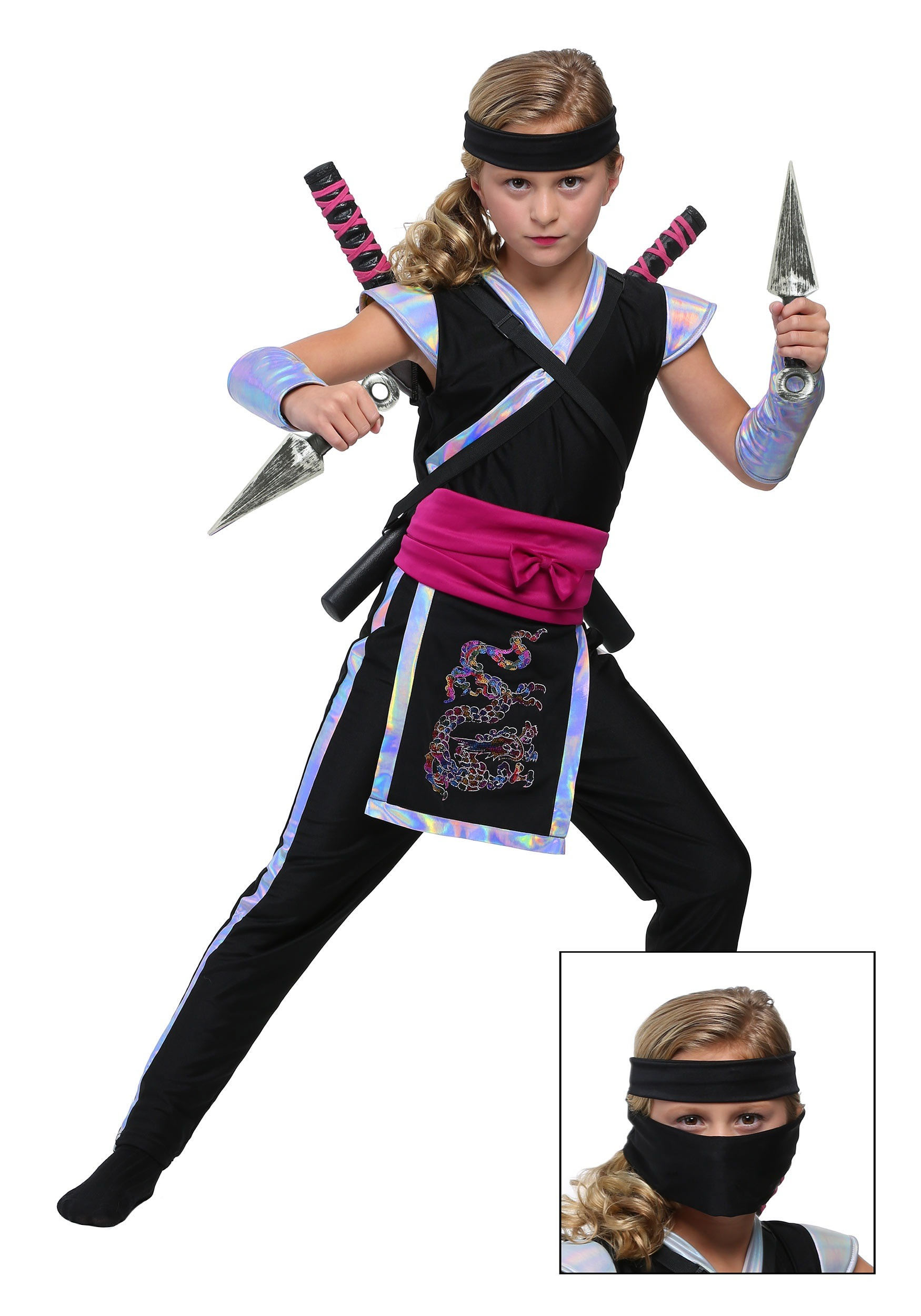 Girlu0027s Rainbow Ninja Costume  sc 1 st  Halloween Costumes & Rainbow Ninja Costume for Girls