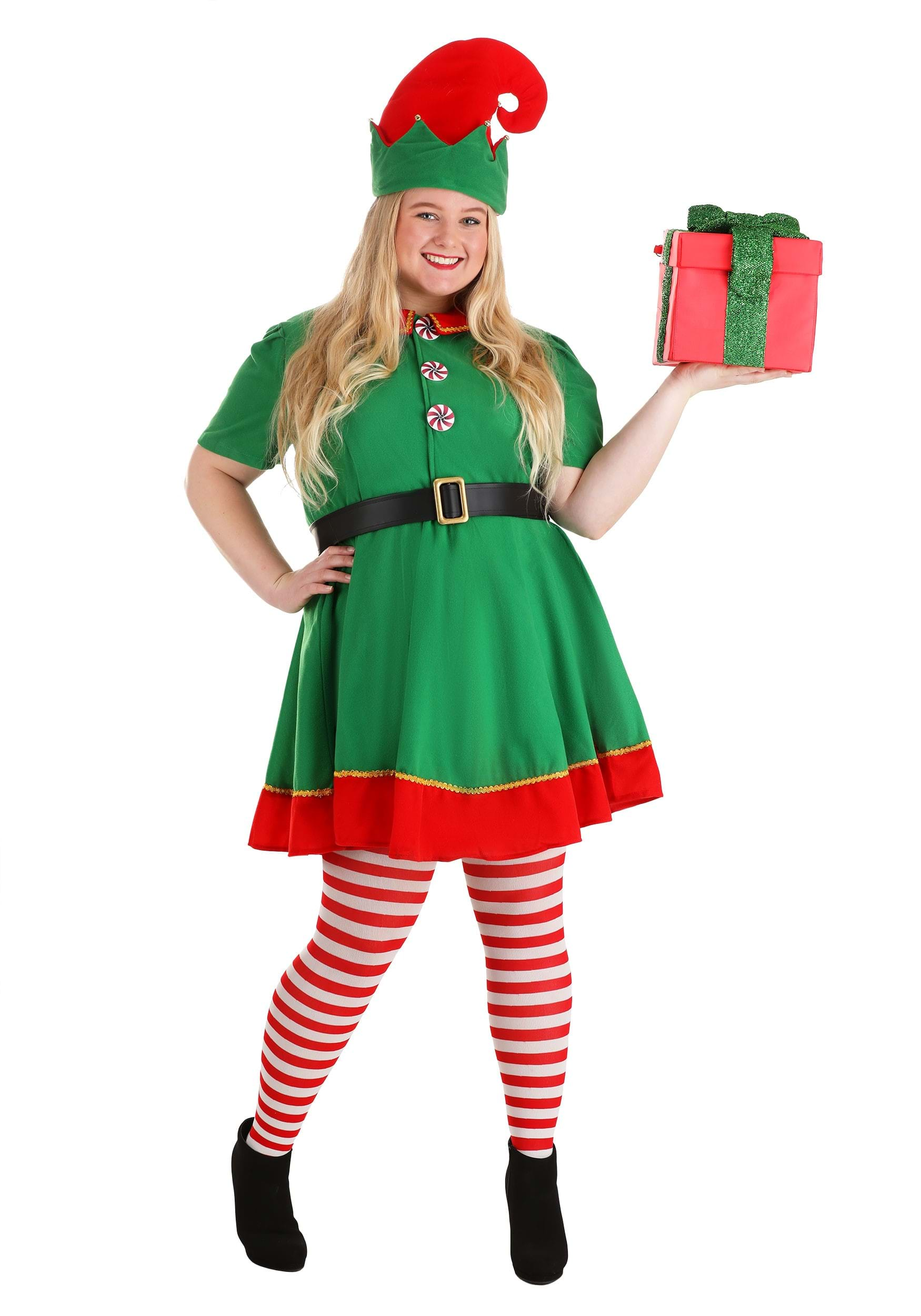 Christmas Elf Costume.Women S Holiday Elf Plus Size Costume