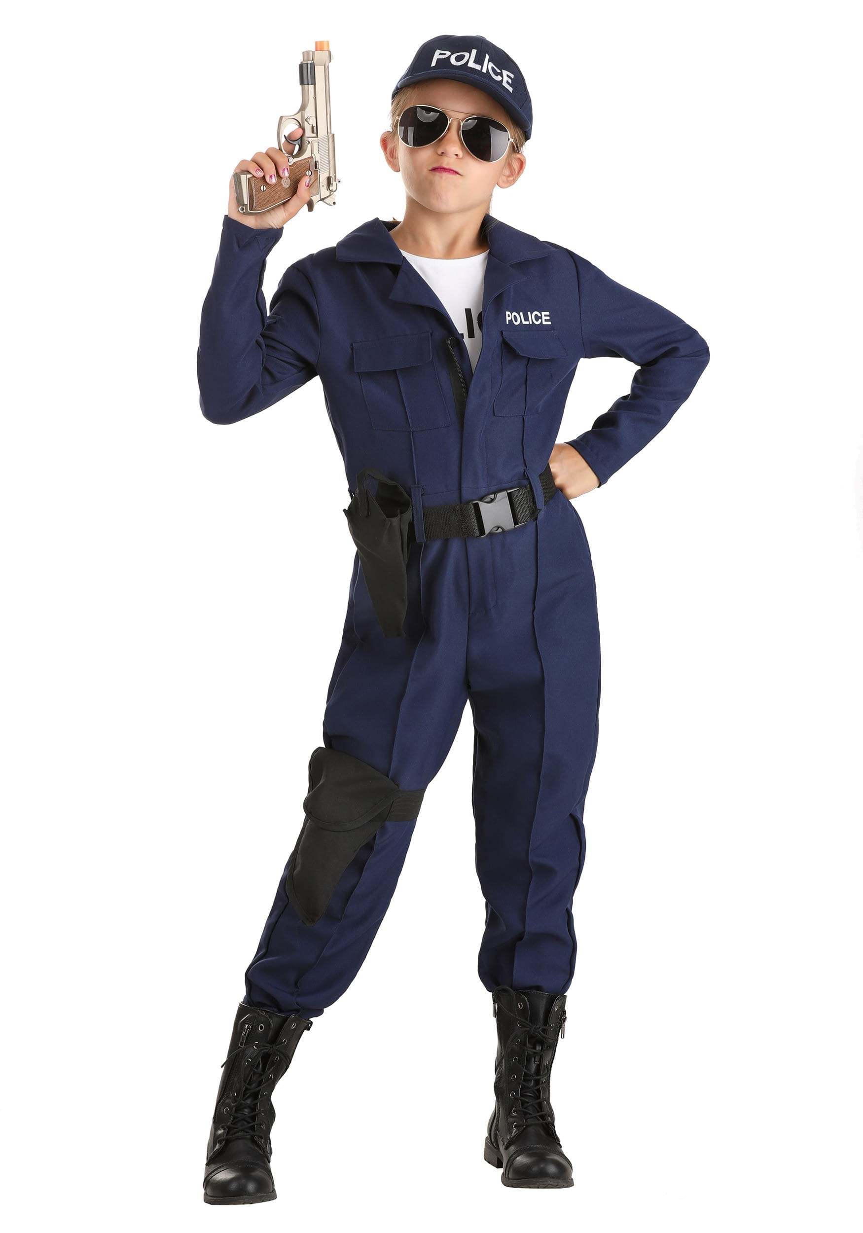 girls tactical cop jumpsuit - Girls Cop Halloween Costume