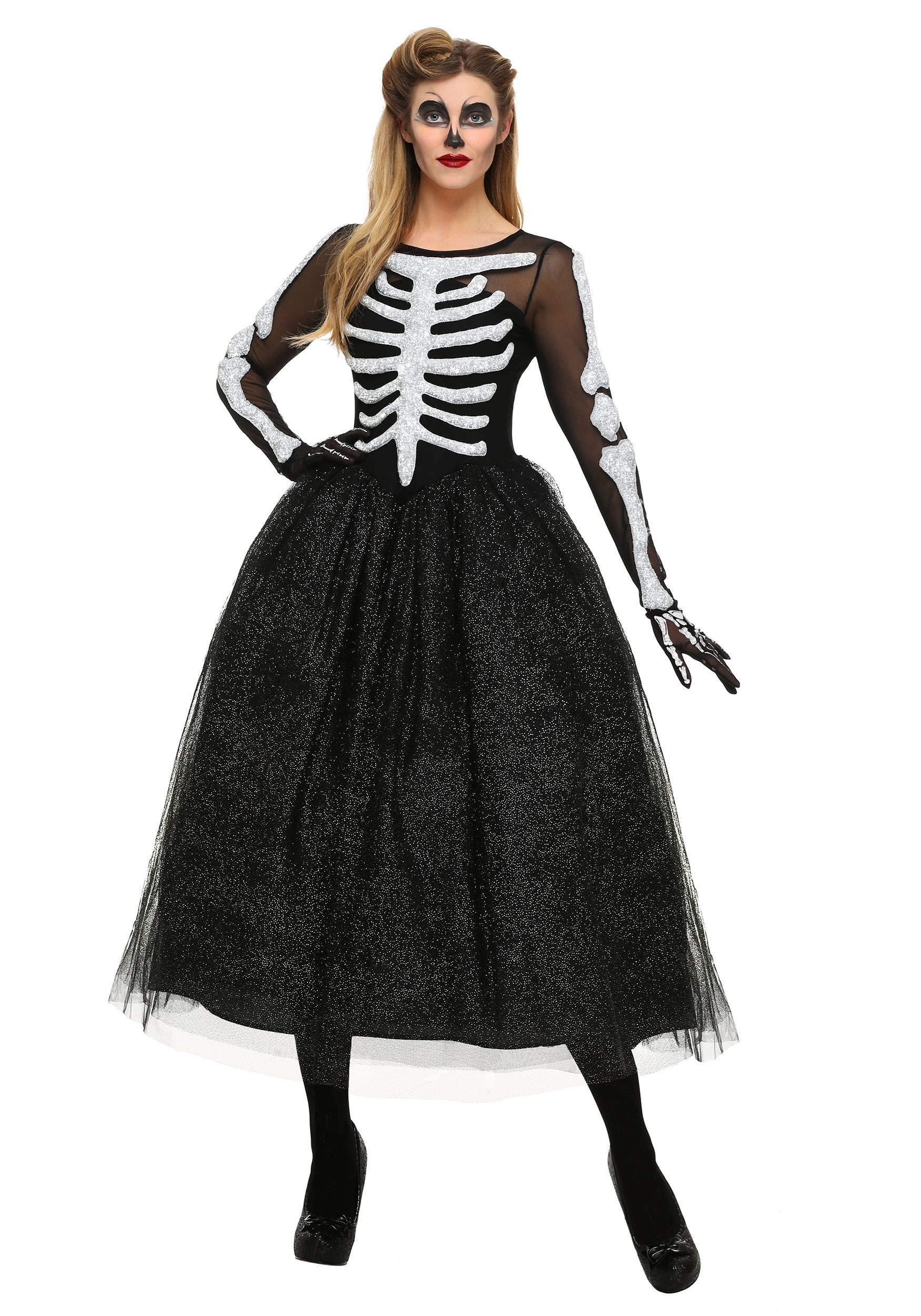womens skeleton beauty plus size costume