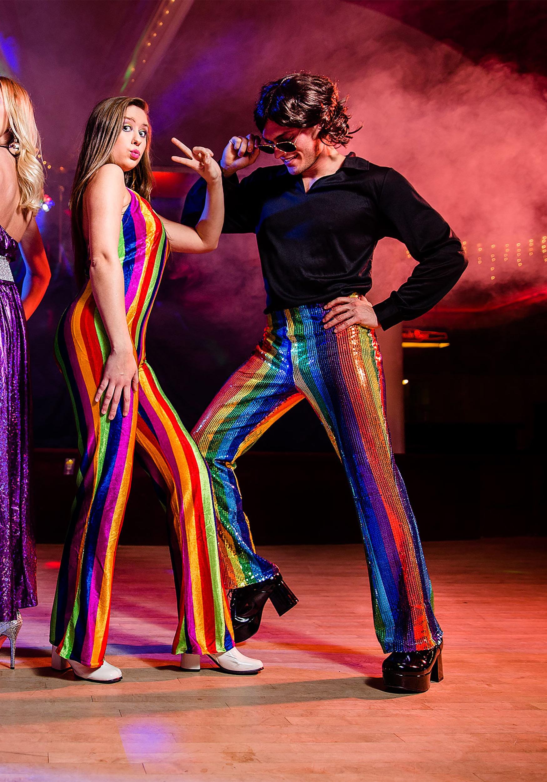 men's disco king costume w 70s sequin rainbow pants