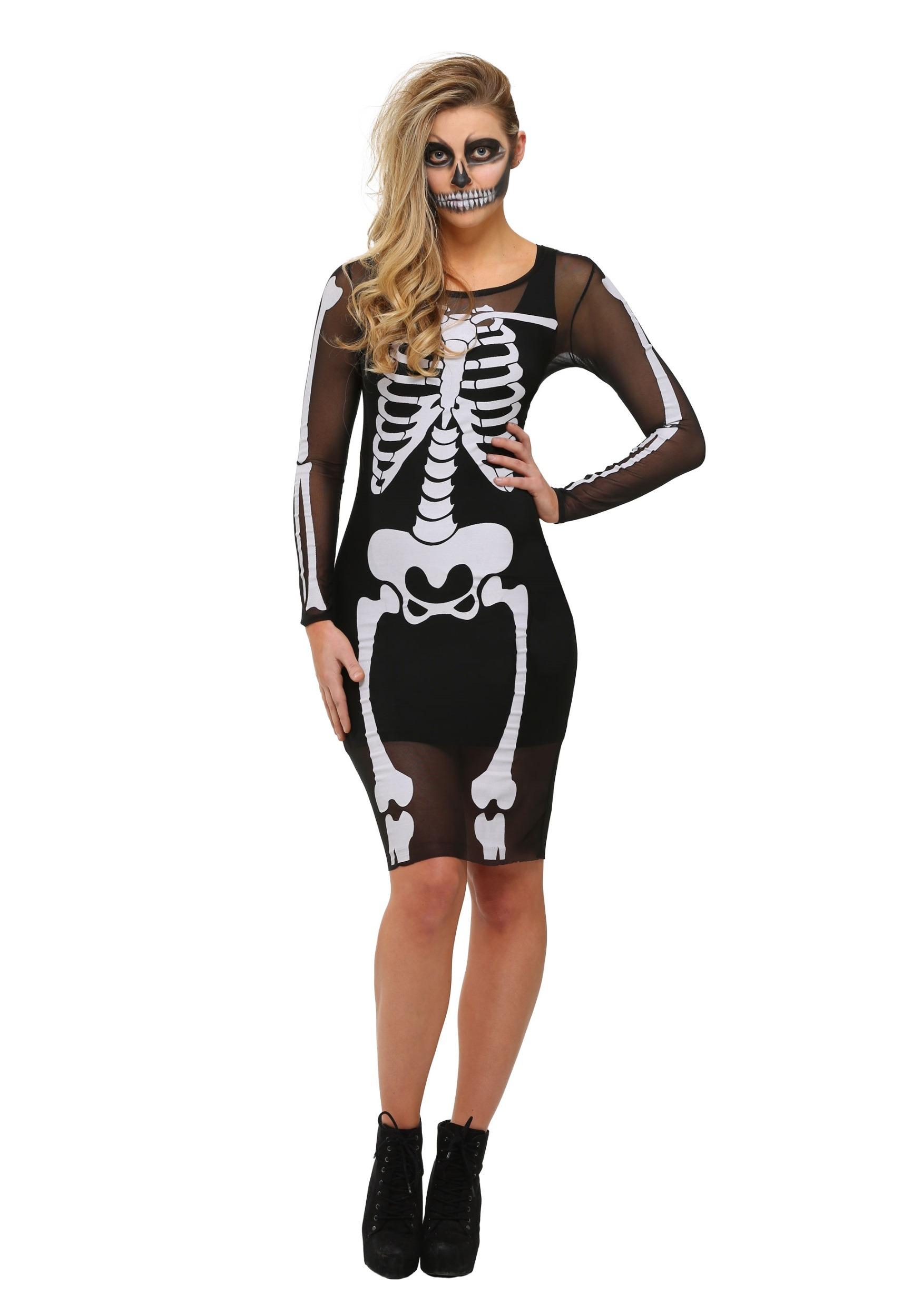 Mesh Skeleton Plus Size Dress Costume