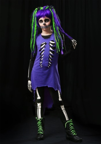 Child Purple & Green Skeleton Girl Costume