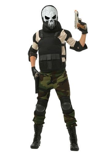Skull Military Man Boys Costume update gun