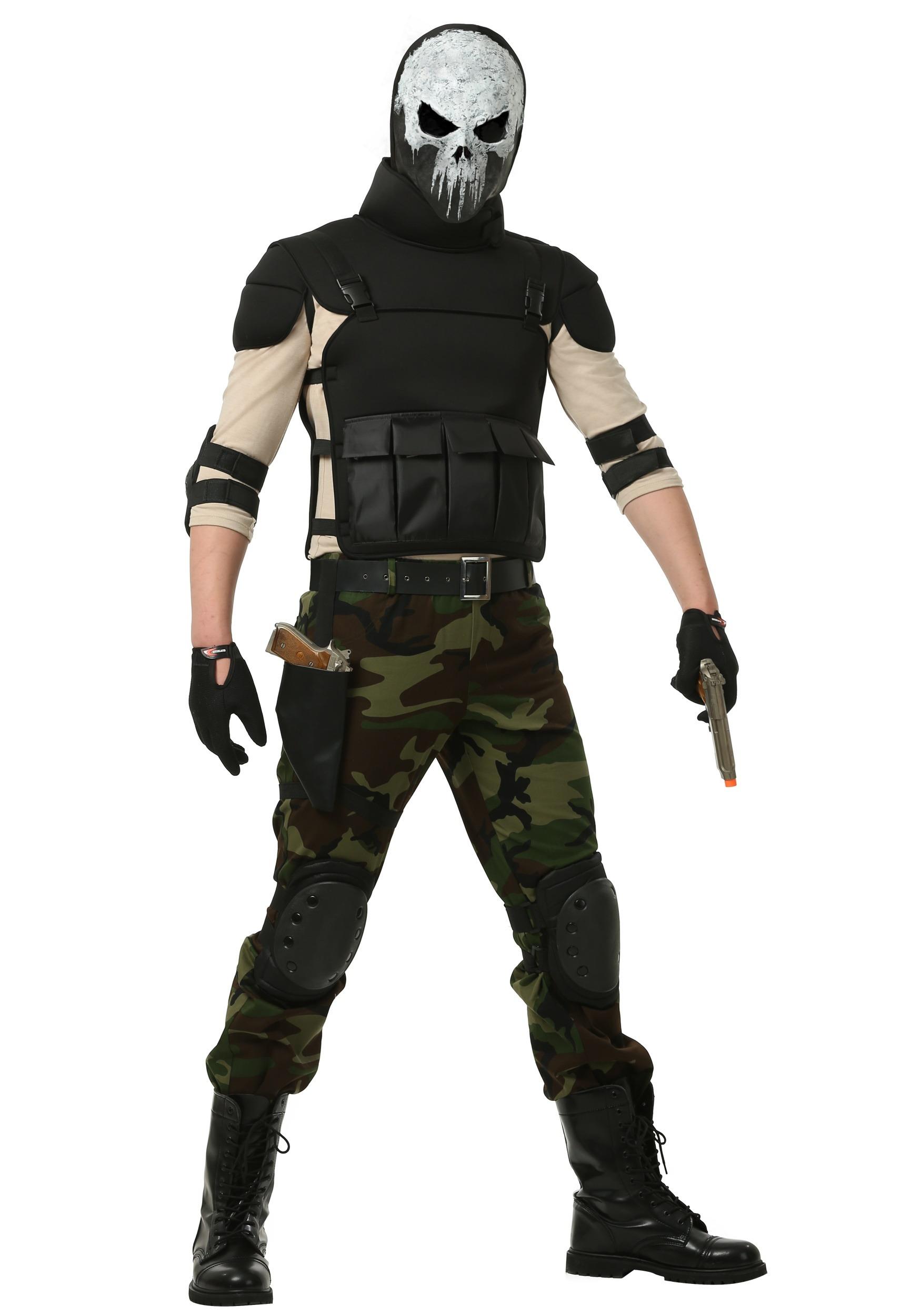 Skull Military Man Costume For Plus Size Men 2x