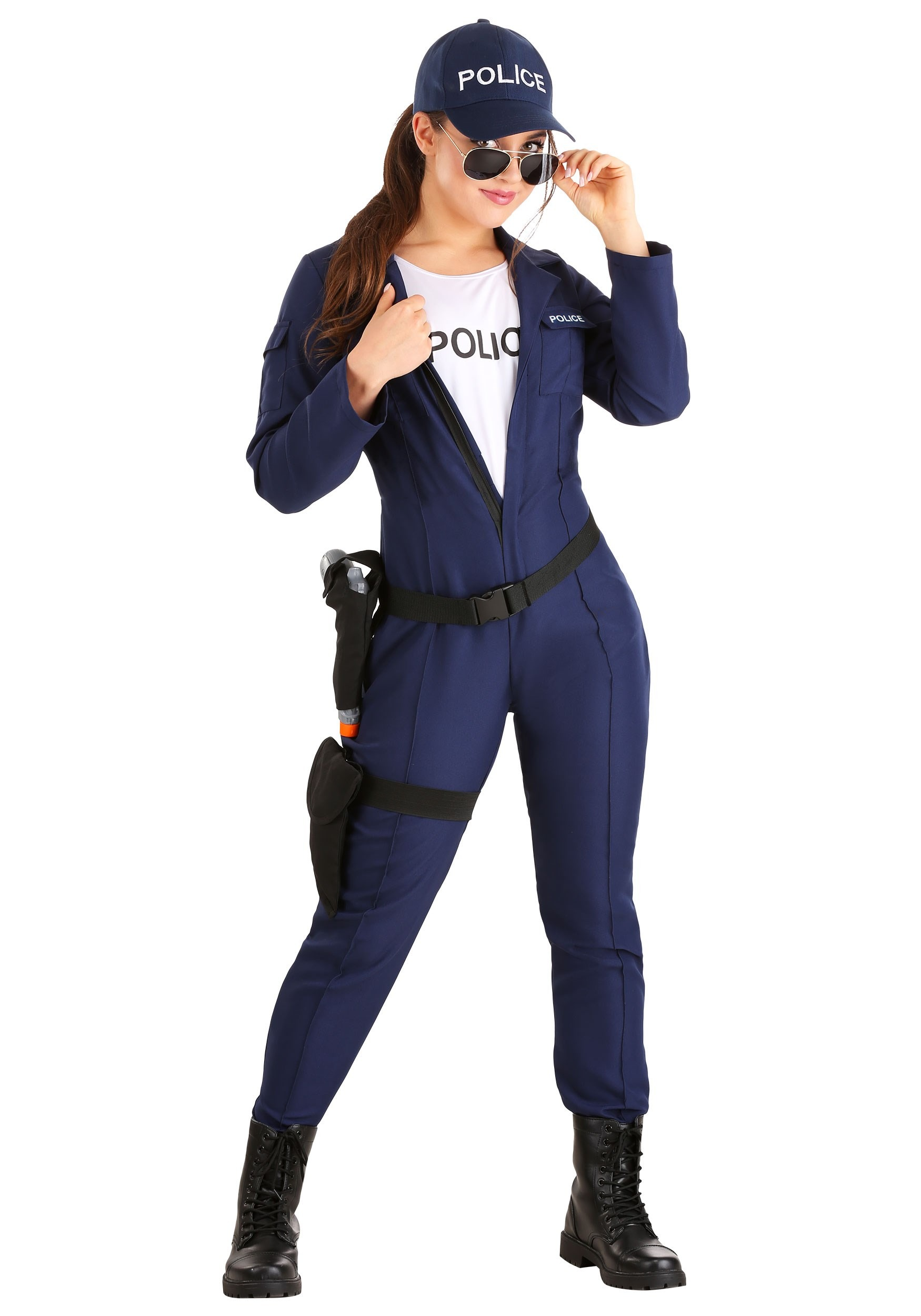 Womens Tactical Cop Jumpsuit Costume-2759