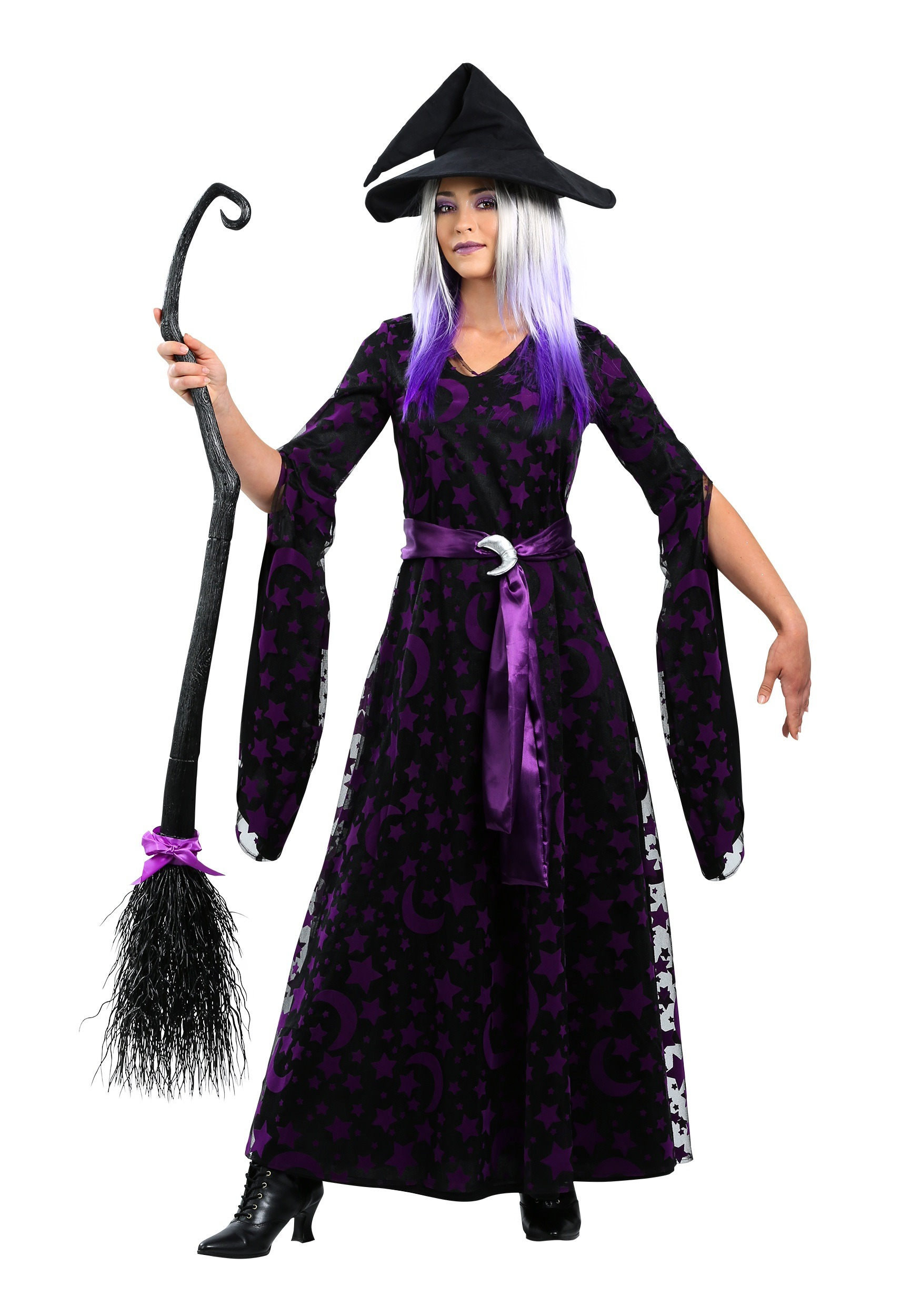 Gothic Home Decorations Purple Moon Witch Costume For Women
